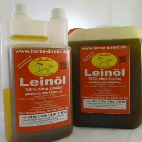Leinöl ist ideal für den Stoffwechsel und positiv für Haut, Haar, Muskulatur, Fell- Huf und Darm. Es dient zudem der besseren Nährstoffversorgung bei hohen Anforderungen.